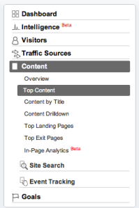 An image of Google Analytics' side navigation